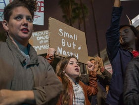 People protest against the appointment of Stephen Bannon to be chief strategist of the White House by president-elect Donald Trump in Los Angeles on November 16, 2016.