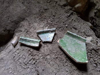 Pottery shards found inside the cave in the Galilean village of Eilabun.