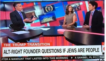 A screenshot shows a banner on CNN reading 'Alt-right founder questions if Jews are people.'