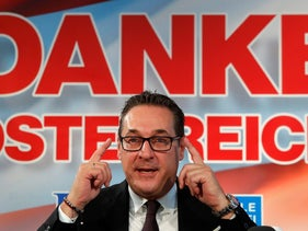 Freedom Party chief Heinz-Christian Strache addresses a news conference in Vienna, October 18, 2017.