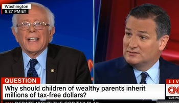 Sanders, Cruz spar over tax reform in CNN debate, October 18, 2017