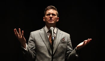 Richard Spencer speaks during a press conference at the Curtis M. Phillips Center for the Performing Arts in Gainesville, Florida, October 19, 2017.