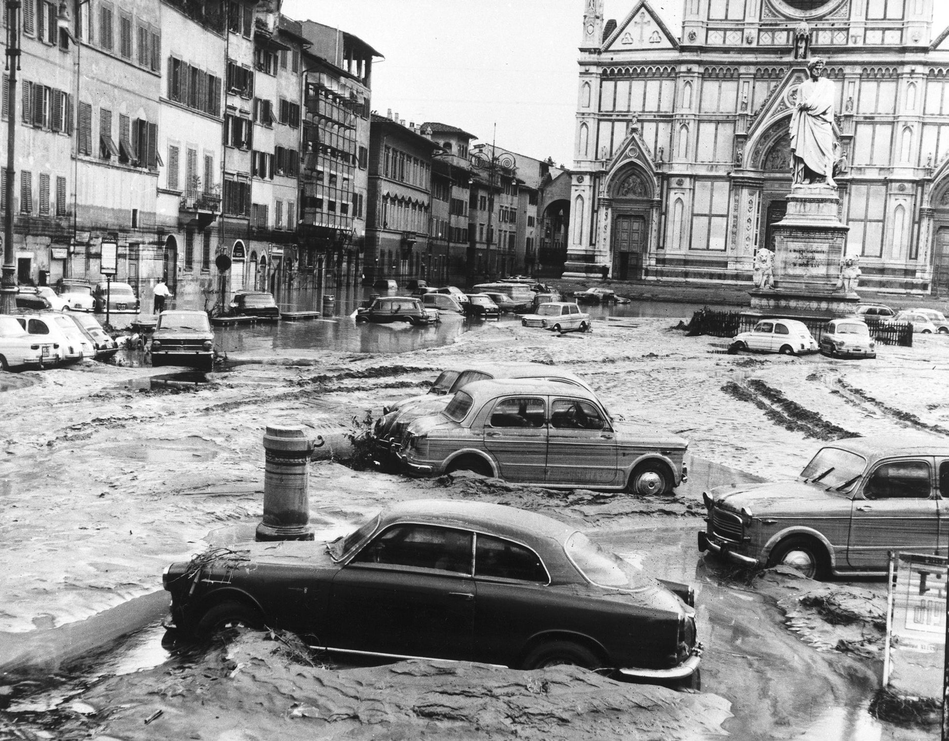 The square in front of the Basilica of Santa Croce after the banks of the River Arno overflowed and flooded the city.