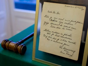A short poem by Anne Frank, handwritten and dated in Amsterdam on March 28, 1942, is displayed at Bubb Kuyper auction house, Haarlem, Netherlands, November 23, 2016.