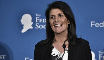 South Carolina Governor Nikki Haley speaks at a 2016 National Lawyers Convention sponsored by the Federalist Society in Washington, DC on November 18, 2016.