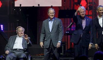 Former Presidents Barack Obama, Bill Clinton, George W. Bush, George H.W. Bush and Jimmy Carter at the opening of a hurricanes relief concert in College Station, Texas, Saturday, Oct. 21, 2017