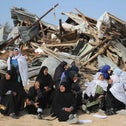 Bedouin women react to the destruction of houses on January 18, 2017 in the Bedouin village of Umm al-Hiran, which is not recognized by the Israeli government, near the Negev desert city of Beersheba.