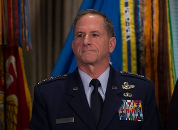 Gen. David Goldfein, who has been nominated to be Air Force chief of staff, listens as he is introduced by Defense Secretary Ash Carter during news conference at the Pentagon, Friday, April 29, 2016.
