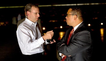J Street President Jeremy Ben-Ami with DNC chair contender Rep. Keith Ellison on a mission to Israel, June 2016.