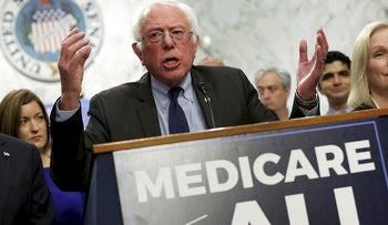 "Senator Bernie Sanders (I-VT) speaks during an event to introduce the ""Medicare for All Act of 2017"" on Capitol Hill in Washington, U.S., September 13, 2017"