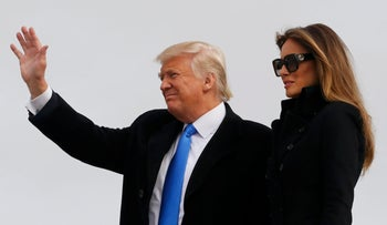 U.S. President-elect Donald Trump and his wife Melania arrive at Joint Base Andrews outside Washington, U.S. January 19, 2017, one day before his inauguration as the nation's 45th president.