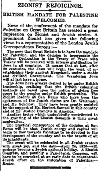 The Times reports on 'Zionist Rejoicings' as Britain is handed the Mandate for Palestine in 1922