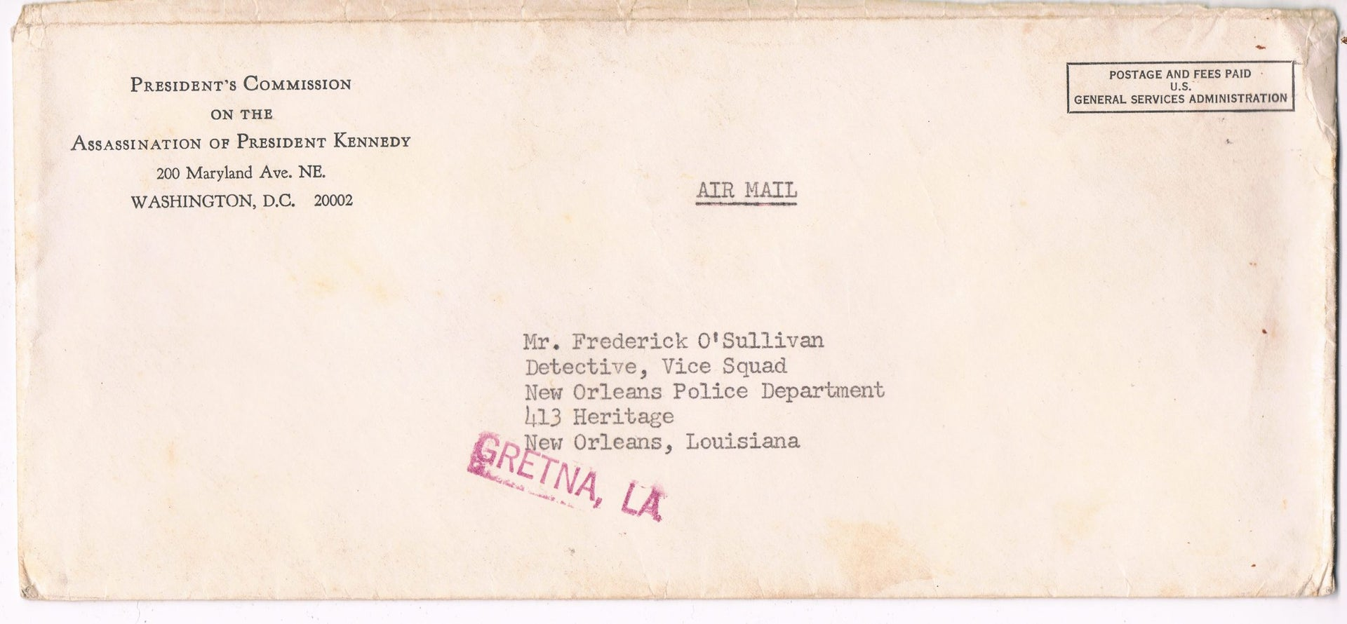 The envelope of the invitation to Efraim O'Sullivan to testify to the Warren Commission.