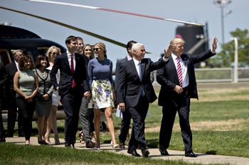 Donald Trump, from right, and Mike Pence, arriving with daughter Ivanka Trump and her husband Jared Kushner at the 2016 the Republican National Convention in Cleveland.
