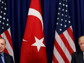 President Donald Trump meets with Turkish President Recep Tayyip Erdogan at the Palace Hotel during the United Nations General Assembly in New York. Sept. 21, 2017