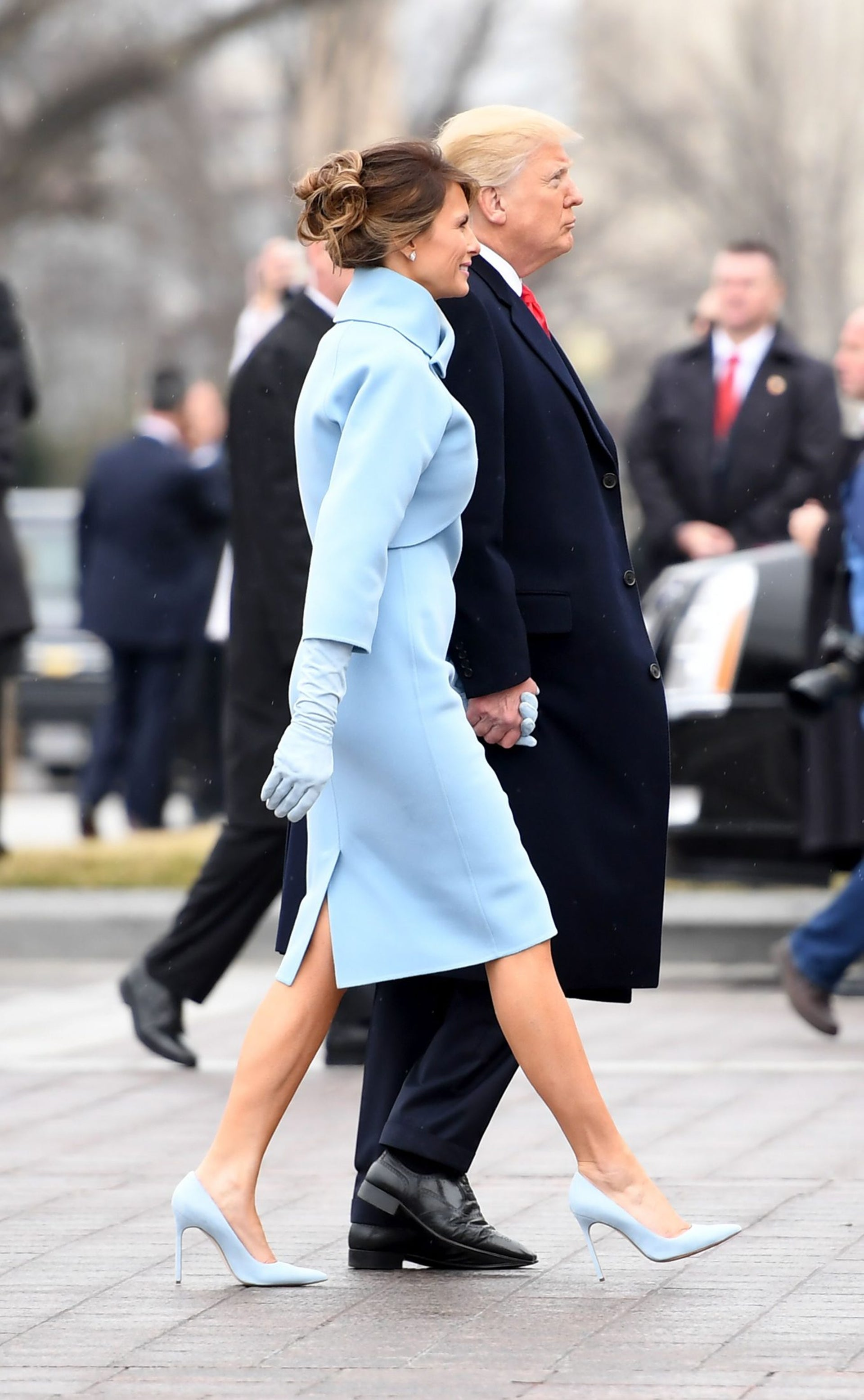 President Doanld Trump and First Lady Melania Trump walk back into the US Capitol after inauguration ceremonies at the US Capitol in Washington, DC.