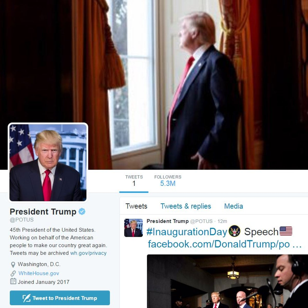 The @POTUS Twitter account, now in the hands of president Donald Trump.