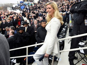 Ivanka Trump arrives to the inauguration ceremony wearing a white pantsuit. A reference the suffragette movement?