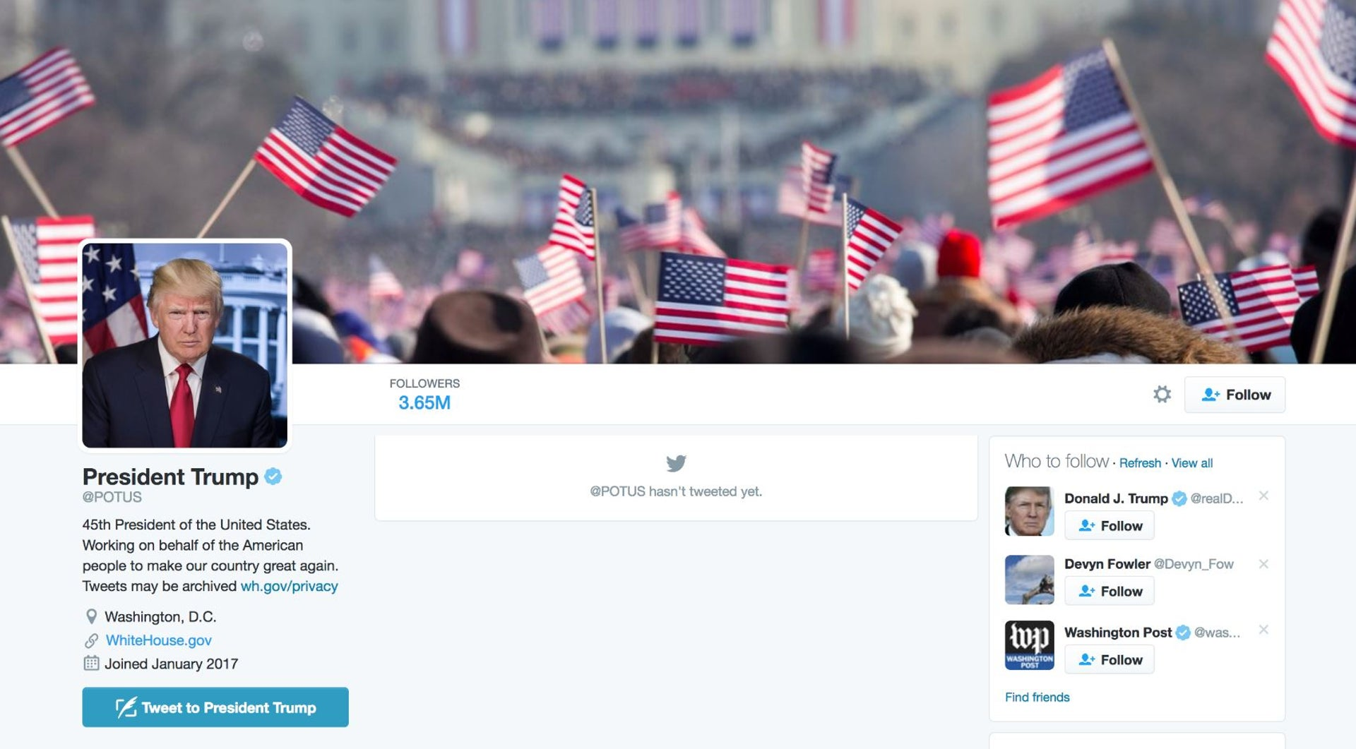 The header image on president Trump's new Twitter account was a picture from president Obama's first swearing-in.