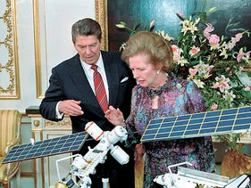 Ronald Reagan and Margaret Thatcher in documentary footage from 'Shadow World.'
