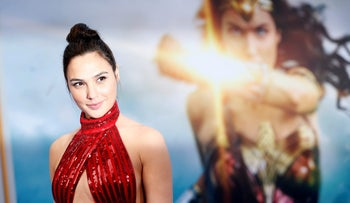 """Gal Gadot poses at the premiere of """"Wonder Woman"""" in Los Angeles, California U.S. on May 25, 2017."""