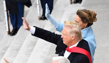 U.S. First Lady Melania Trump and U.S. President Donald Trump, on the West Front of the U.S. Capitol after the 58th presidential inauguration in Washington, D.C., U.S., on Friday, Jan. 20, 2017.