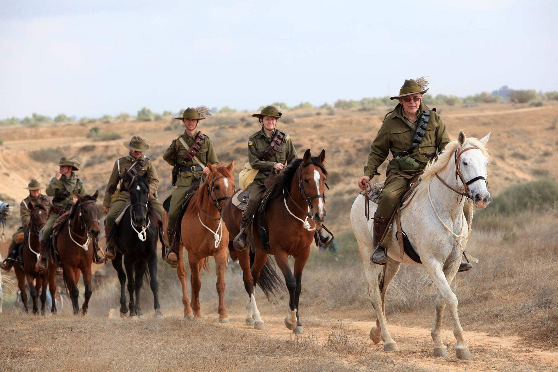 """""""The Battle of Be'er Sheva"""": The descendants of soldiers from the Australian and New Zealand Army Corps (ANZAC), riding along the trail that their ancestors took to Be'er Sheva to fight the Turks in World War One. October 29, 2017."""