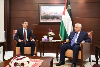 Palestinian President Mahmoud Abbas meeting with U.S. presidential adviser Jared Kushner in Ramallah, August 24, 2017.