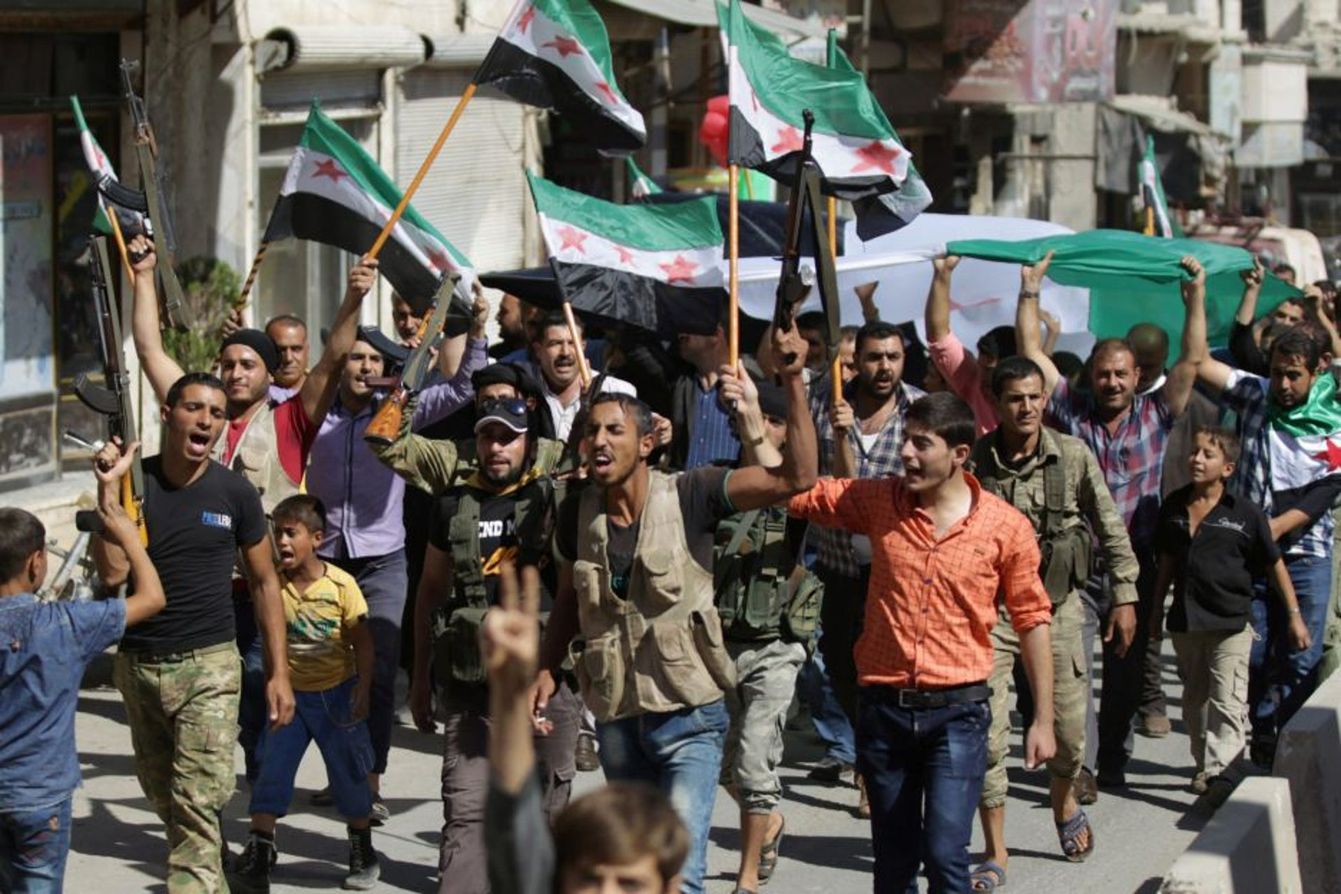 A demonstration backing the Free Syrian Army, Azaz, Syria, September 2016.