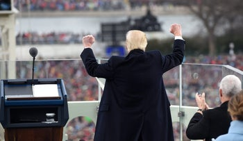 File photo: U.S. President Donald Trump celebrates after his speech during the presidential inauguration in Washington, January 20, 2016.