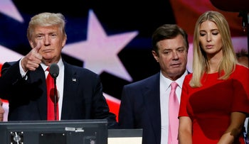 Donald Trump gives a thumbs up as his campaign manager Paul Manafort and daughter Ivanka look on, Republican National Convention, Cleveland, July 21, 2016.