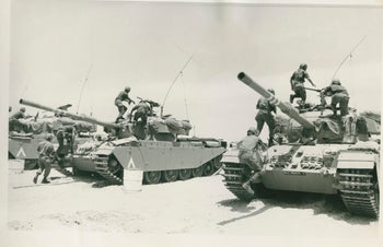Israeli tanks during the Six-Day War in 1967. A large non-Jewish population was brought together under the country's muscular Jewish wing.