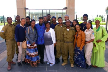 African Hebrew Israelites outside the Knesset in Jerusalem after meeting with government officials to discuss their struggle to attain Israeli citizenship, March 2014