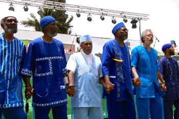 African Hebrew Israelite leaders sing during the opening ceremony of New World Passover, a two-day festival held every year in Dimona commemorating their 1967 'exodus' from the United States. May 2012