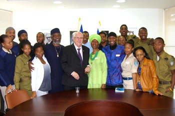 African Hebrew Israelites with then-MK Reuven Rivlin, now Israel's president, at the Knesset after a meeting about their struggle to attain Israeli citizenship, March 2014