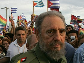 This file photo taken on July 26, 2006 shows Fidel Castro in the city of Holguin, 700Km from Havana, during the inaguration of an electricity generating plant.
