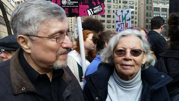 Moishe Rosenfeld, left, and Irena Klepfisz at the March on NYC, Jan. 21, 2017.