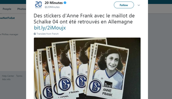 Screen grab of stickers of Anne Frank wearing the FC Schalke 04 uniform found in Duesseldorf and revealed by Ruhr Barone.de