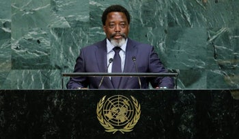 Joseph Kabila Kabange, President of the Democratic Republic of the Congo addresses the 72nd United Nations General Assembly at U.N. headquarters in New York, September 23, 2017.