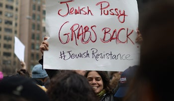Jewish protester at the NYC women's march against Trump