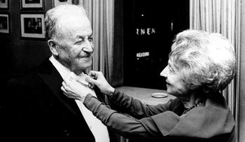 Nelly Sachs fixing S.Y. Agnon's bow tie at the Nobel Prize Awards Ceremony in December 1966.