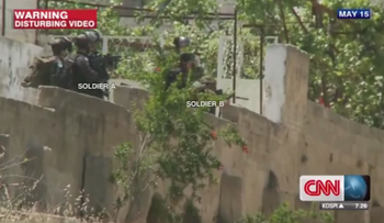 A screenshot from a CNN report on the 2014 incident in Beitunia.