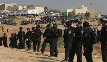 Police in the Bedouin village of Umm al-Hiran in southern Israel, January 18, 2017.