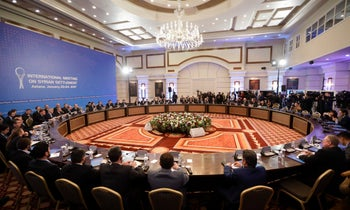 Russian, Iranian and Turkish delegations hold talks on a cease-fire in Syria in Astana, Kazakhstan, January 23, 2017.