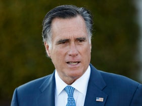 In this Saturday, Nov. 19, 2016, file photo, Mitt Romney talks to media after meeting with President-elect Donald Trump at Trump National Golf Club Bedminster in Bedminster, N.J.