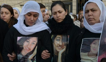 Druze women gather in the village of Kisra to commemorate 17-year-old Wijdan Abu Hamid, December 28, 2016.