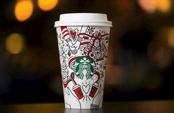 This Monday, Oct. 23, 2017, photo provided by Starbucks shows the company's 2017 holiday cup on display in Seattle