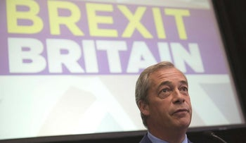 Nigel Farage, leader of the U.K. Independence Party (UKIP), pauses whilst speaking during a news conference to announce his resignation as UKIP party leader at the Emmanuel Centre in London, U.K., on Monday, July 4, 2016