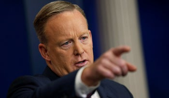 White House spokesman Sean Spicer holds his first press briefing at the White House in Washington, U.S. January 23, 2017.