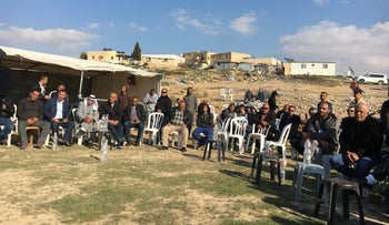 The mourning circle where Umm al-Hiran residents gathered to pay their respects to al-Kiyan's family, Umm al-Hiran, 18 January 2017.